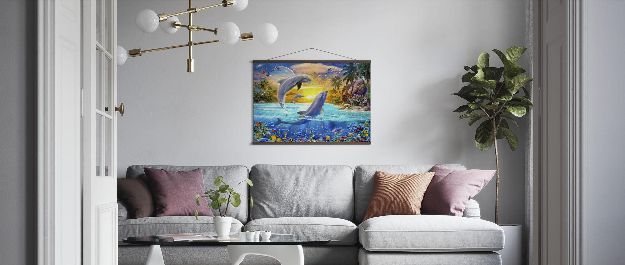 Jente og delfiner - Plakat - Stue