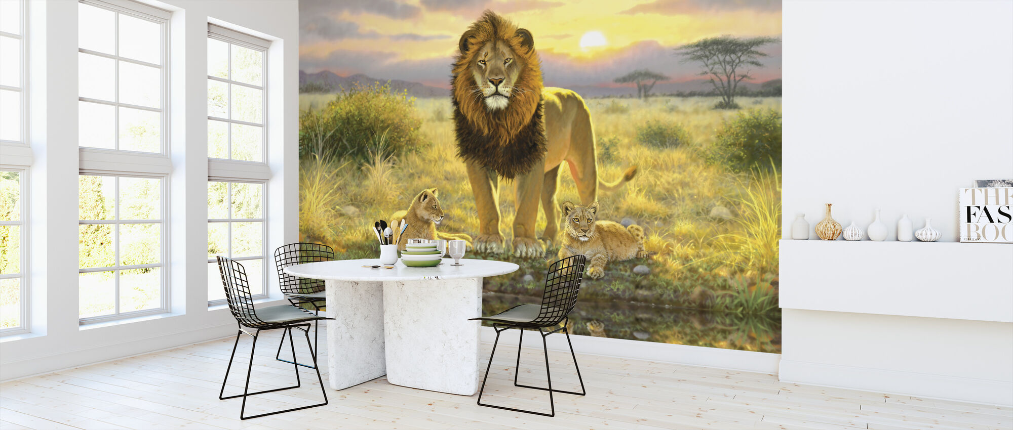 Lion and Twins Landscape - Wallpaper - Kitchen