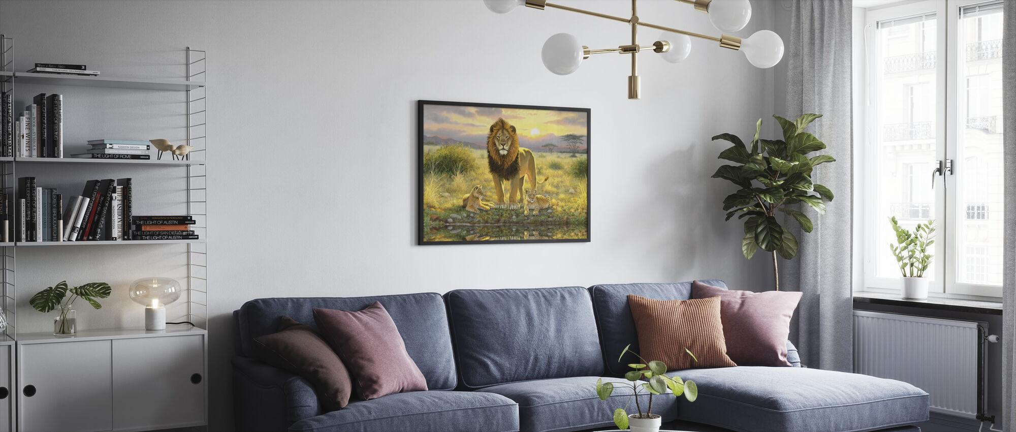 Lion and Twins Landscape - Framed print - Living Room