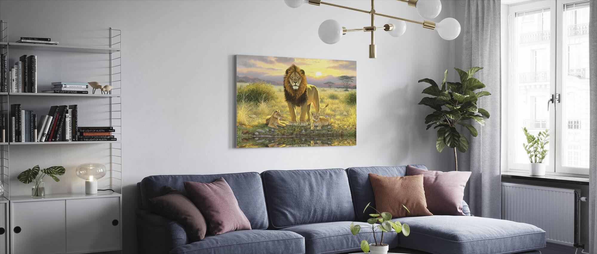 Lion and Twins Landscape - Canvas print - Living Room