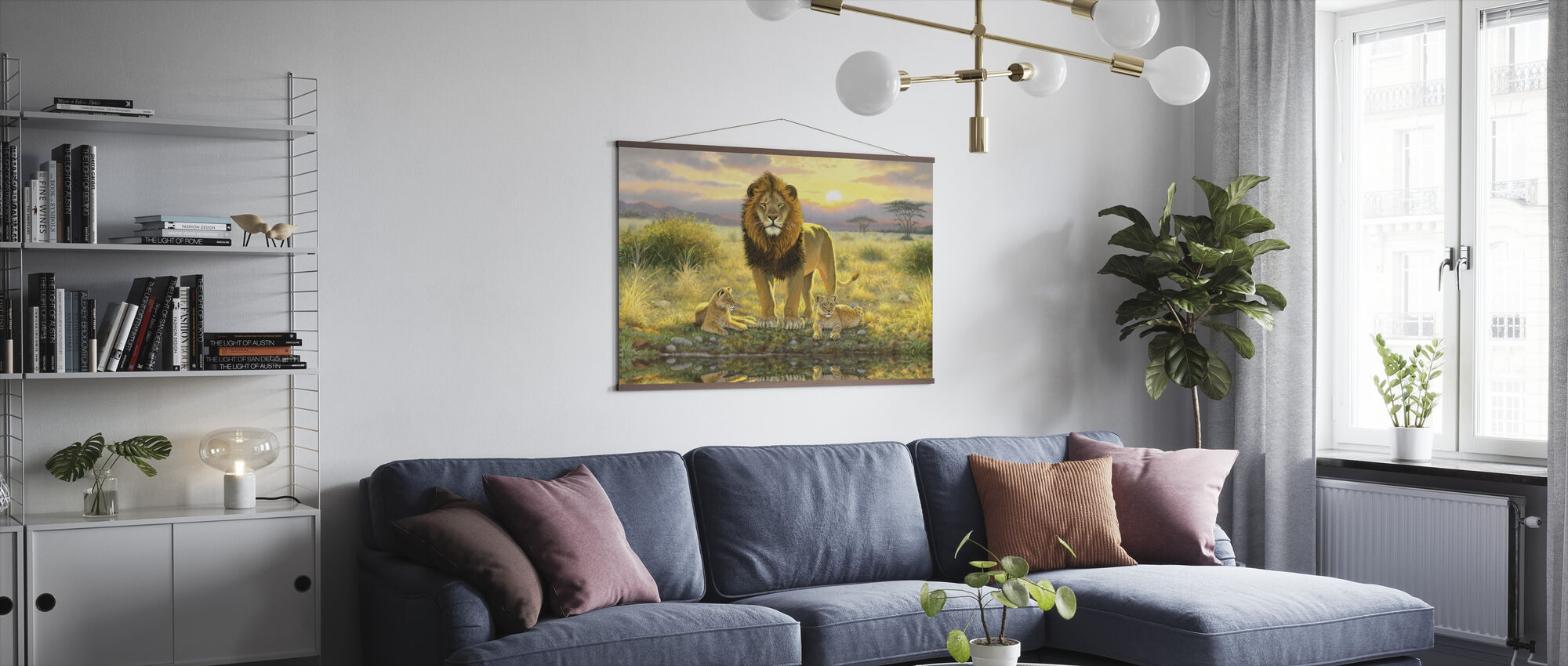 Lion and Twins Landscape - Poster - Living Room