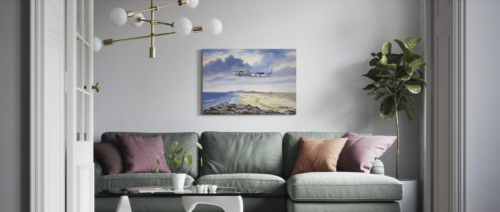 B17 Over Benbecula - Canvas print - Living Room