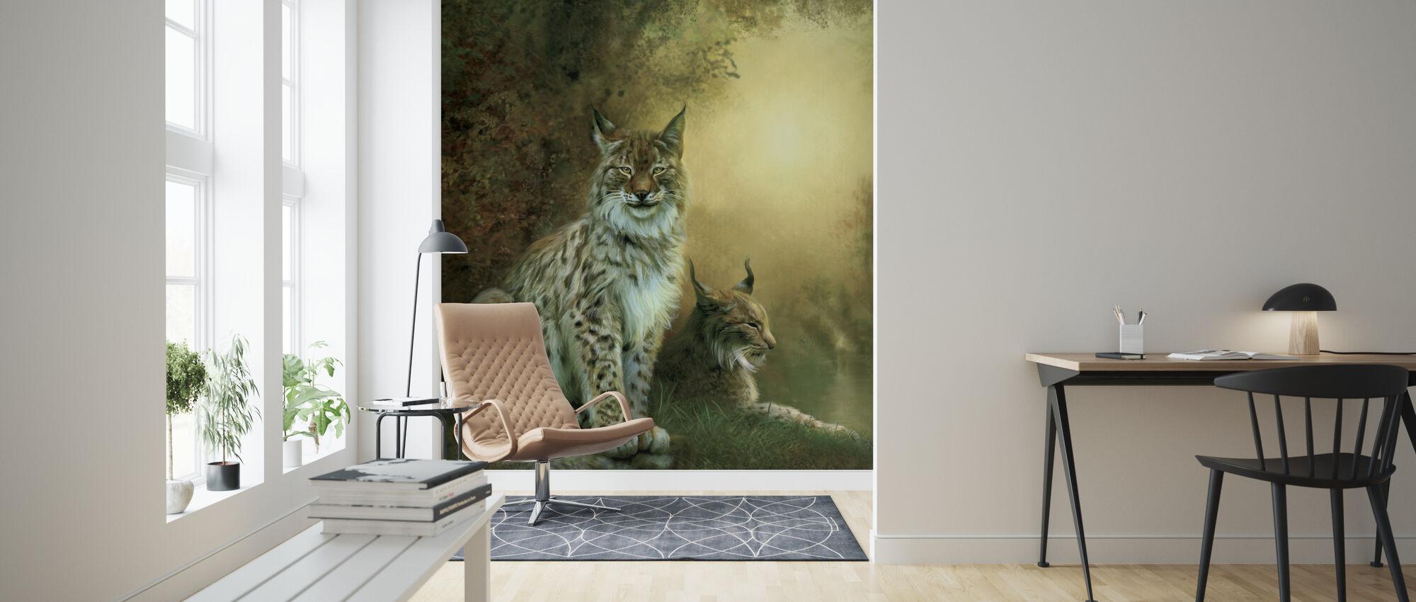 Två Lynxes - Tapet - Vardagsrum