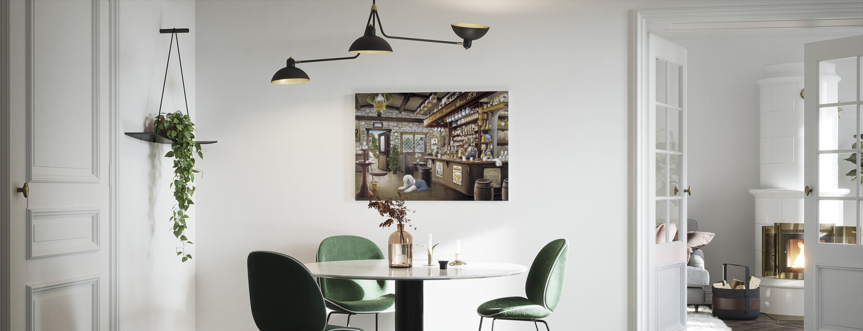 Old Pub with an English Sheepdog - Canvas print - Kitchen
