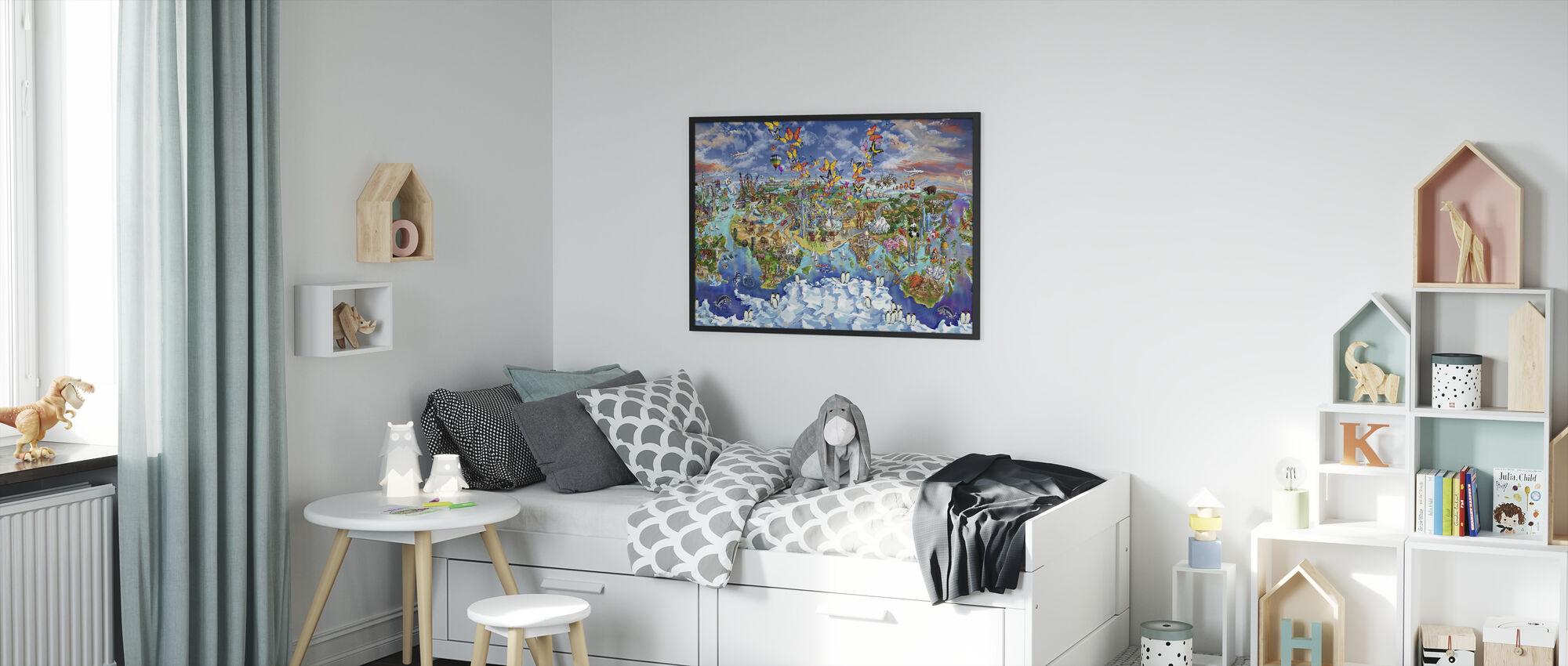 World Wonders Illustrated Map - Framed print - Kids Room