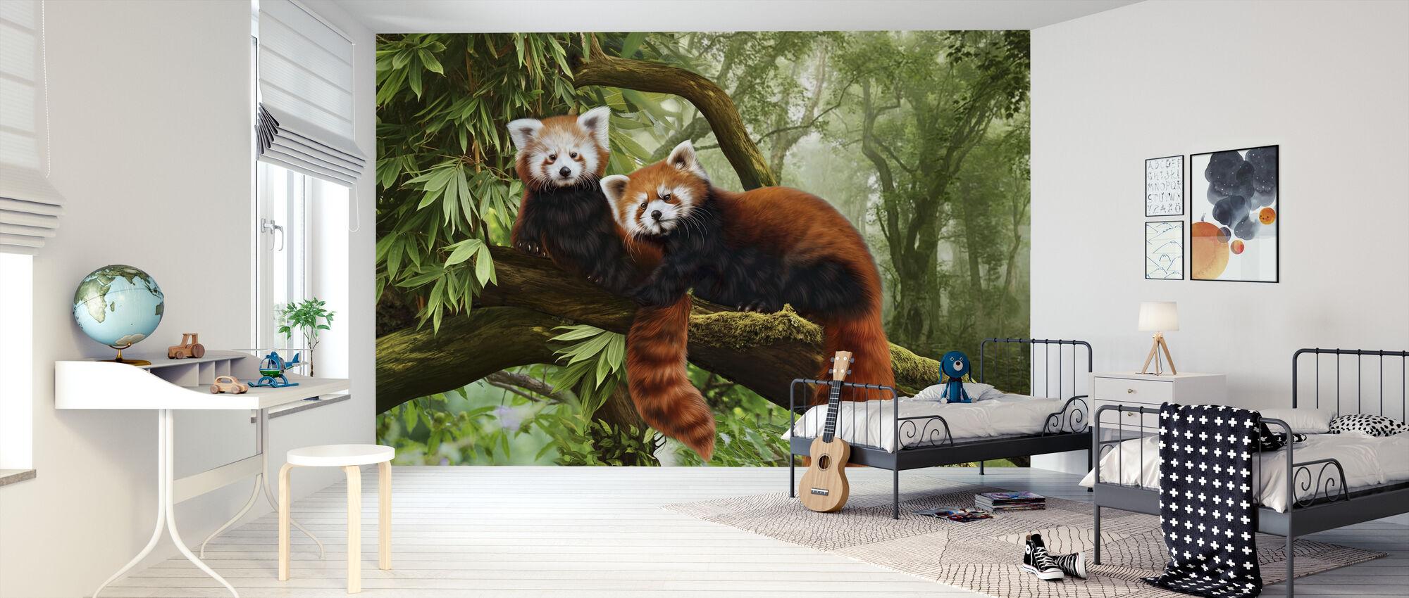 Punainen Panda - Tapetti - Lastenhuone