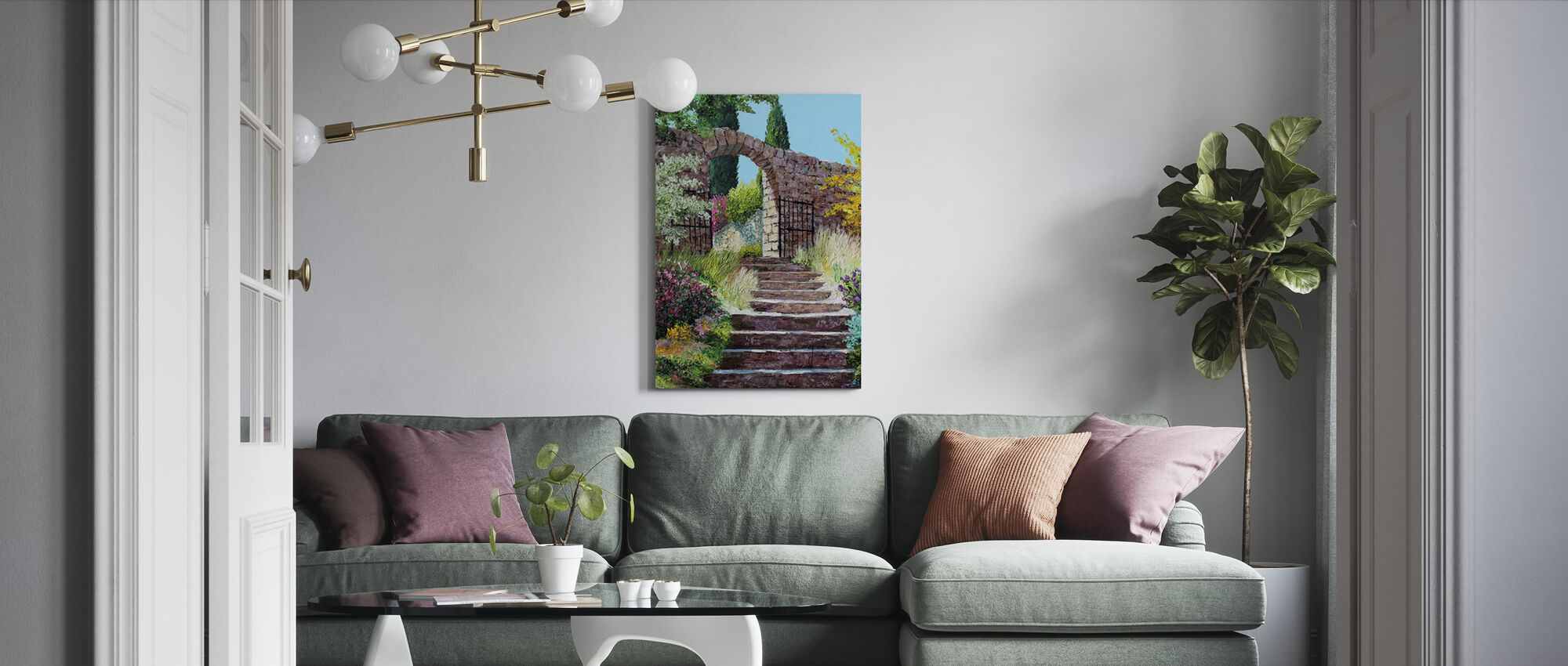 Stairway Fleading to the Garden - Canvas print - Living Room