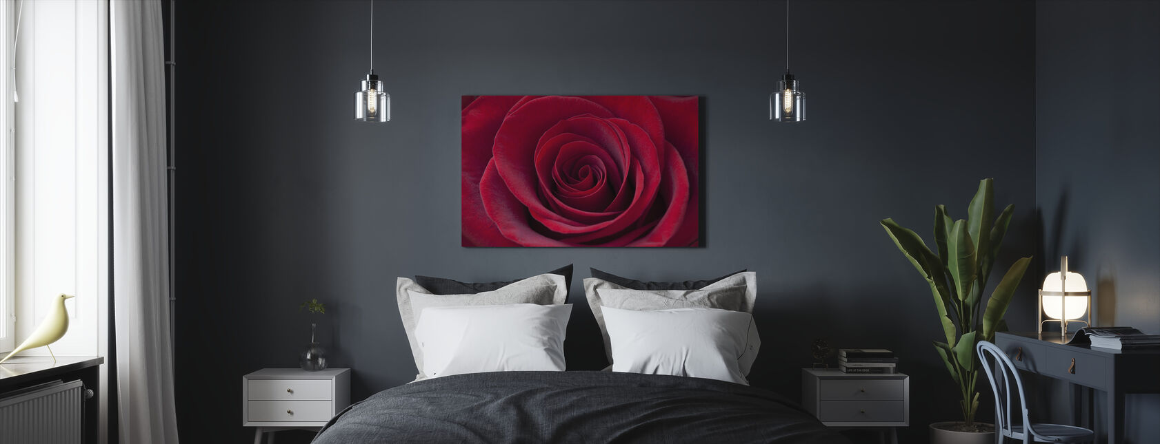 Deep Red Rose - Canvas print - Bedroom