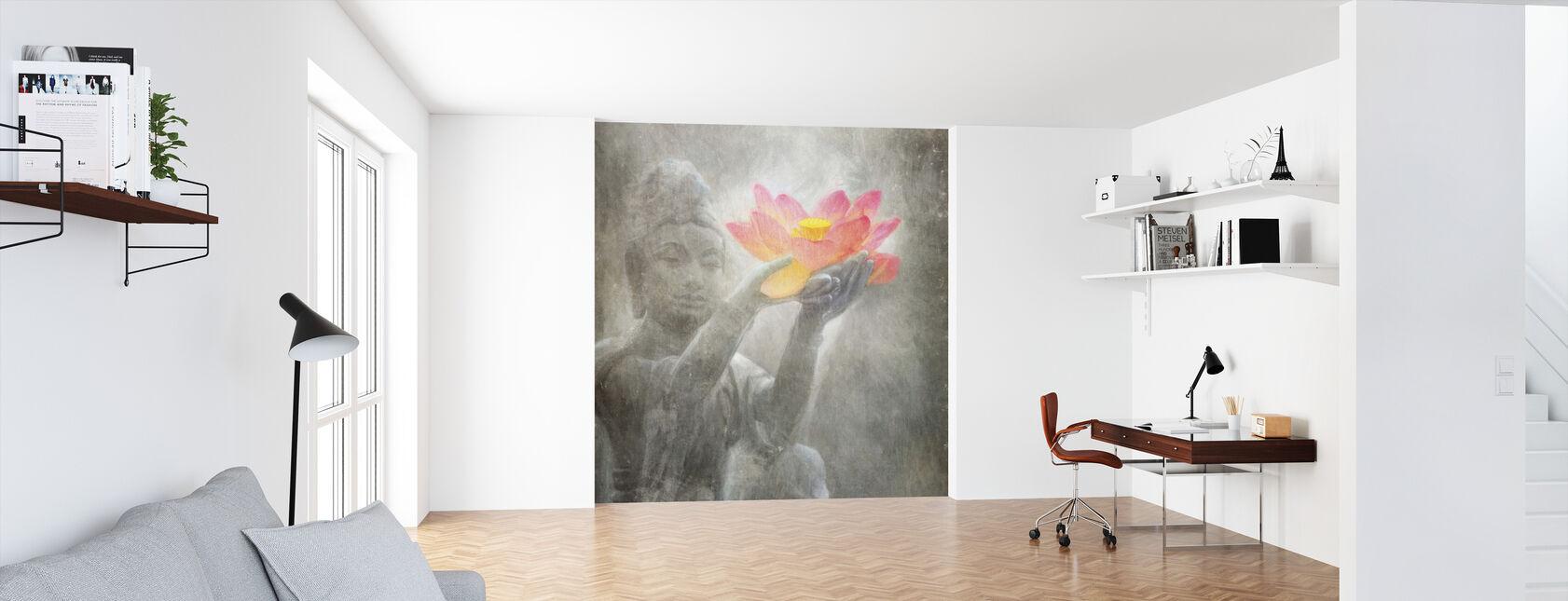 Neutrale Lotus Boeddha kwadraat - Behang - Kantoor
