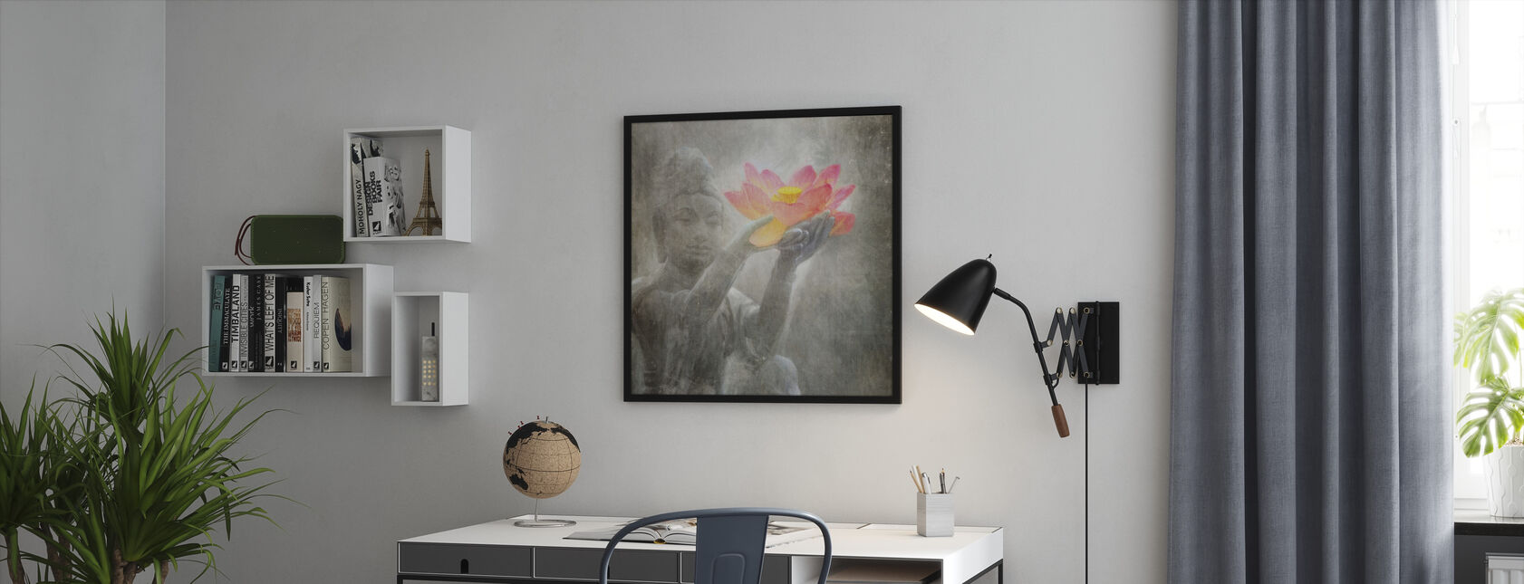 Neutral Lotus Buddha Squared - Framed print - Office