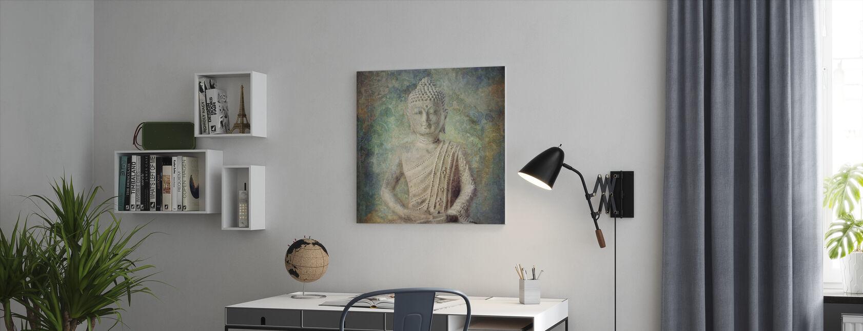 Rolig Buddha Squared - Lerretsbilde - Kontor