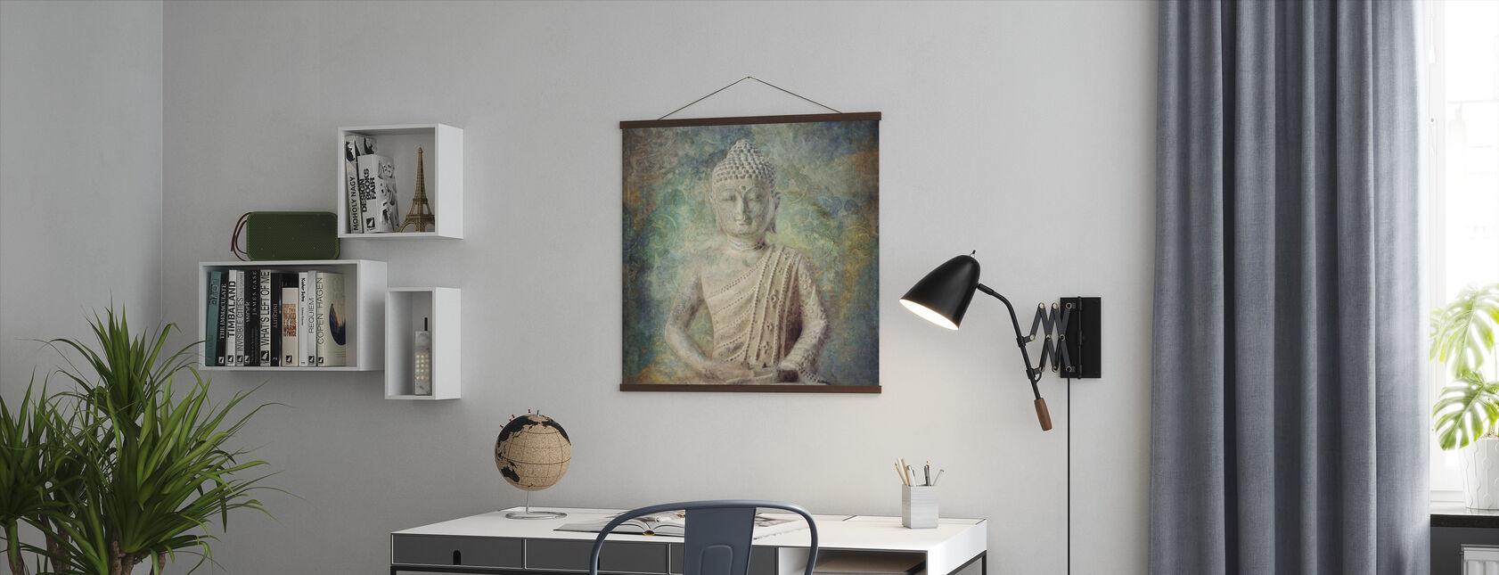 Bouddha tranquille carré - Affiche - Bureau