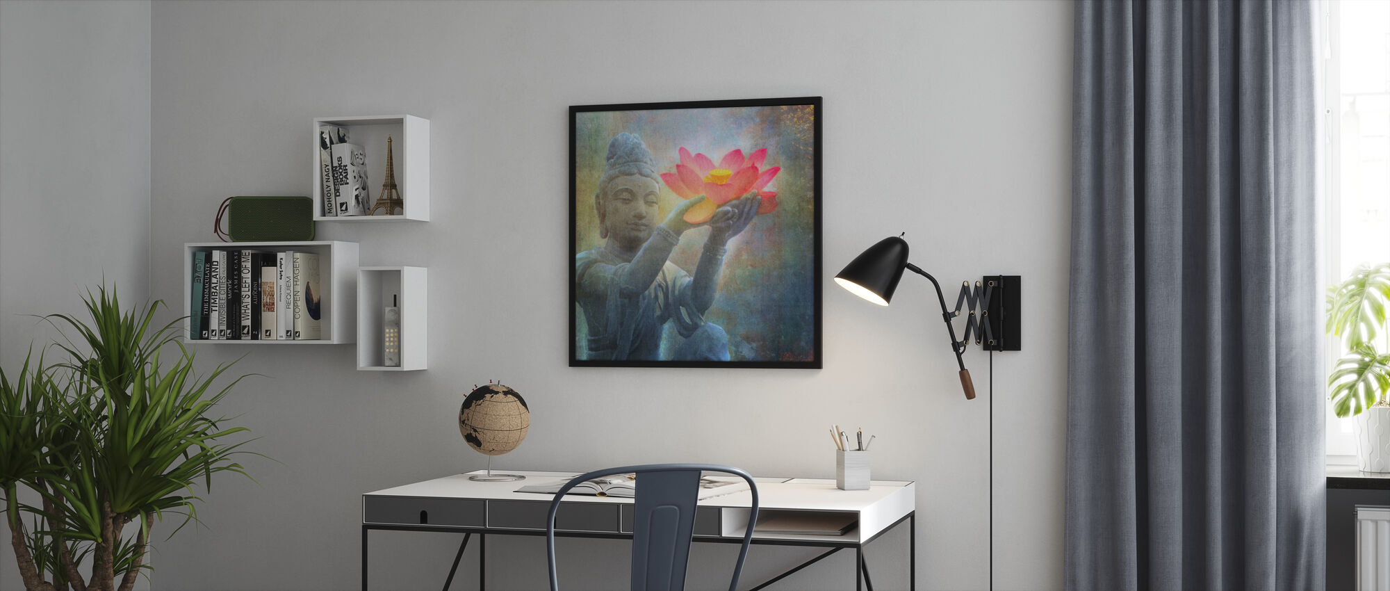 Lotus Budda kvadrat - Innrammet bilde - Kontor