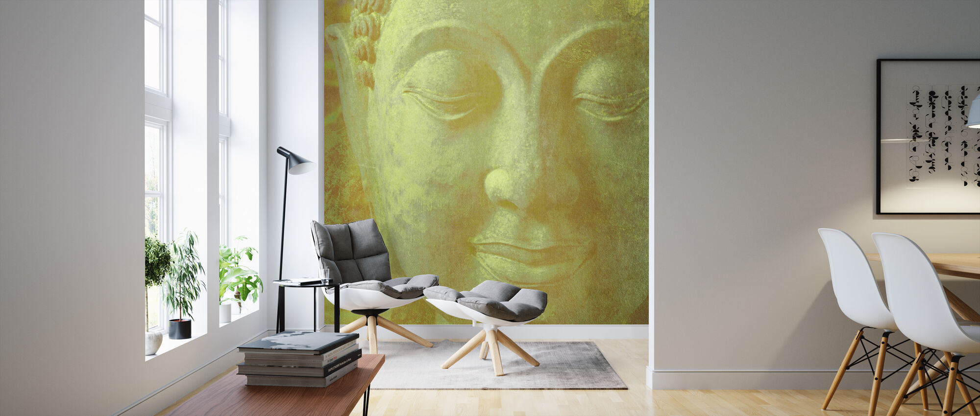 Yellow Buddha Squared - Wallpaper - Living Room