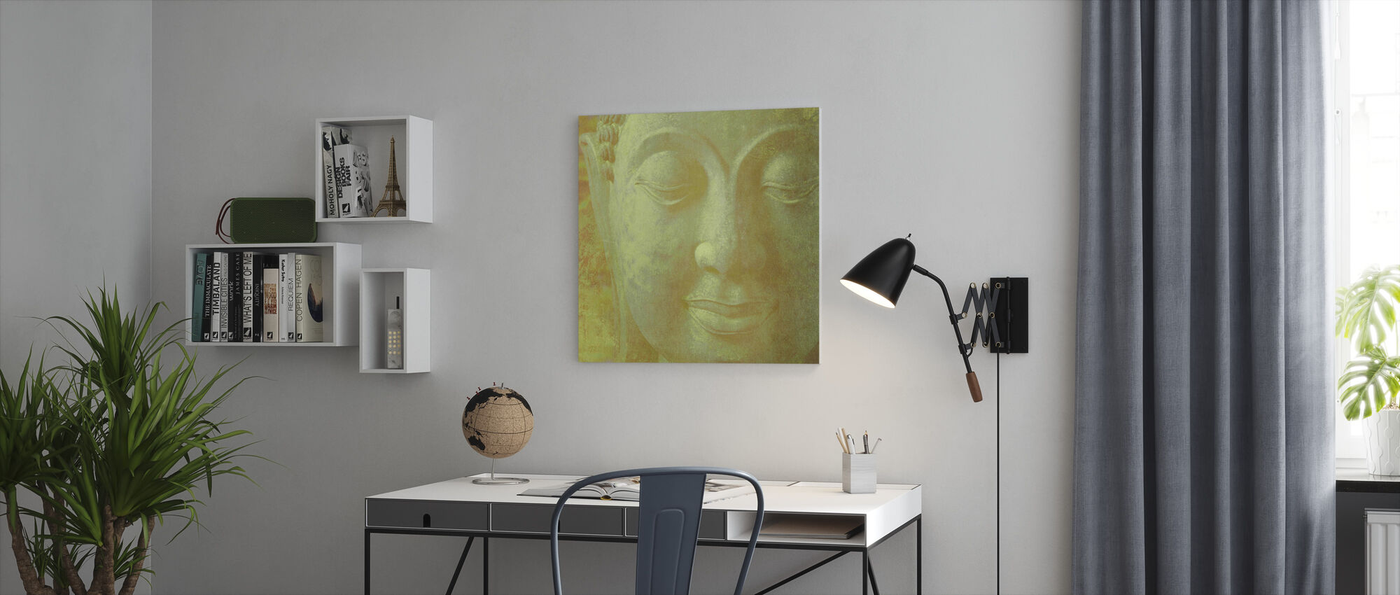 Gul Buddha Squared - Lerretsbilde - Kontor