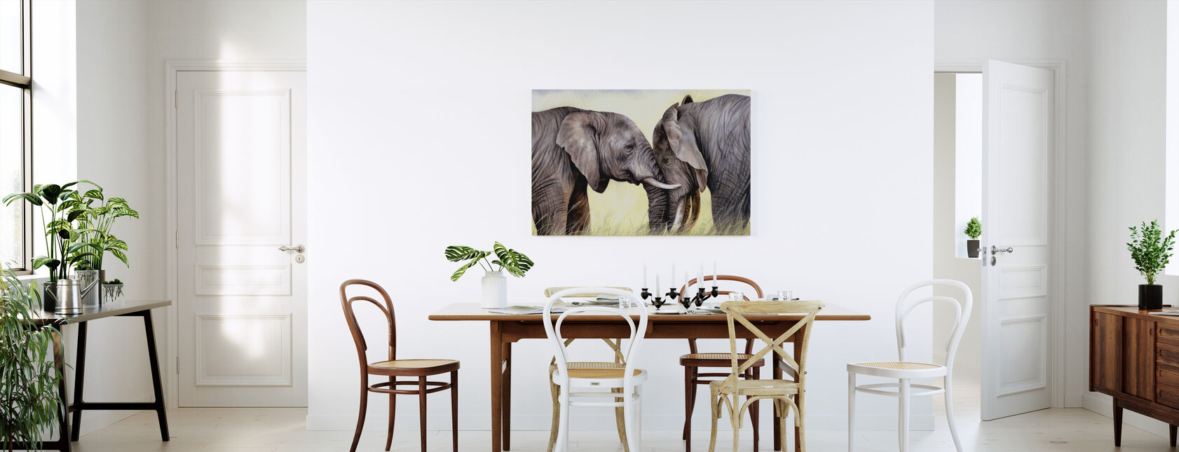 African Elephants Playing - Canvas print - Kitchen