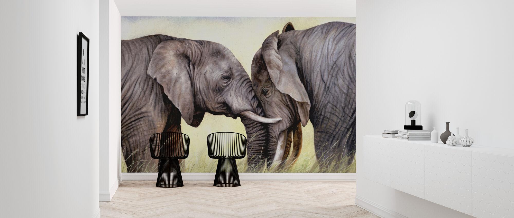 African Elephants Playing - Wallpaper - Hallway