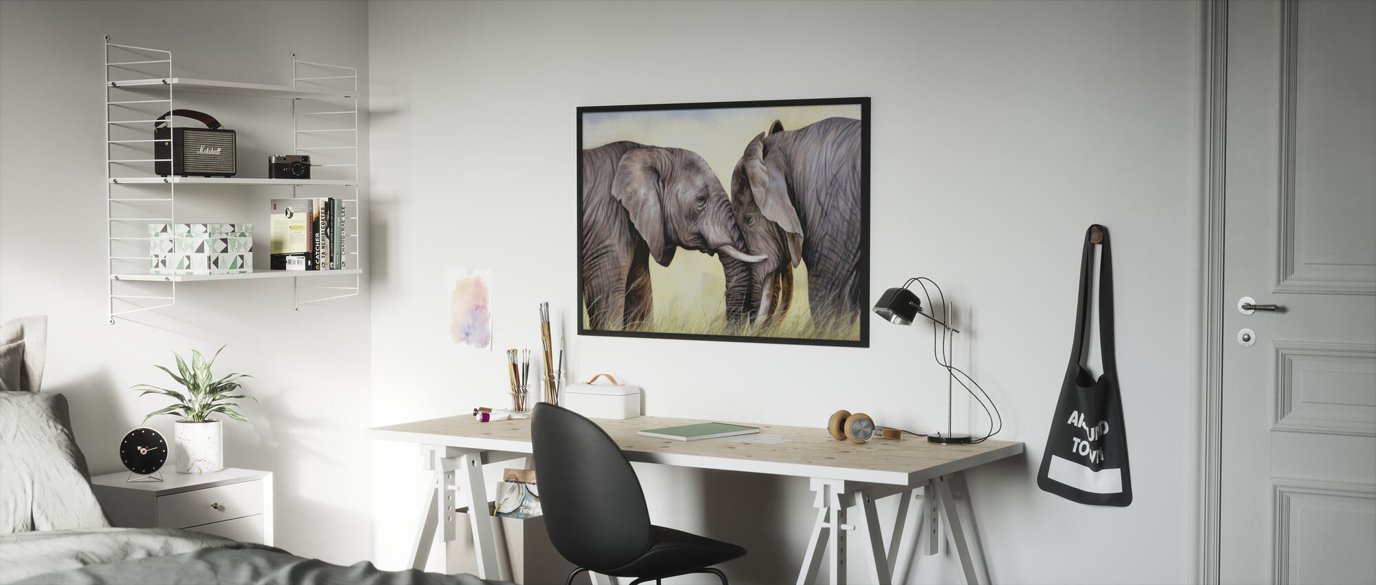 African Elephants Playing - Framed print - Kids Room