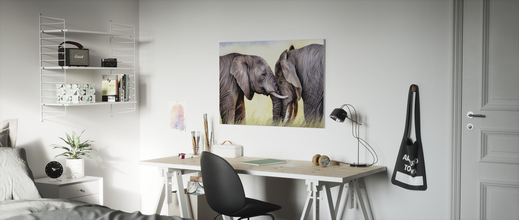 African Elephants Playing - Canvas print - Kids Room