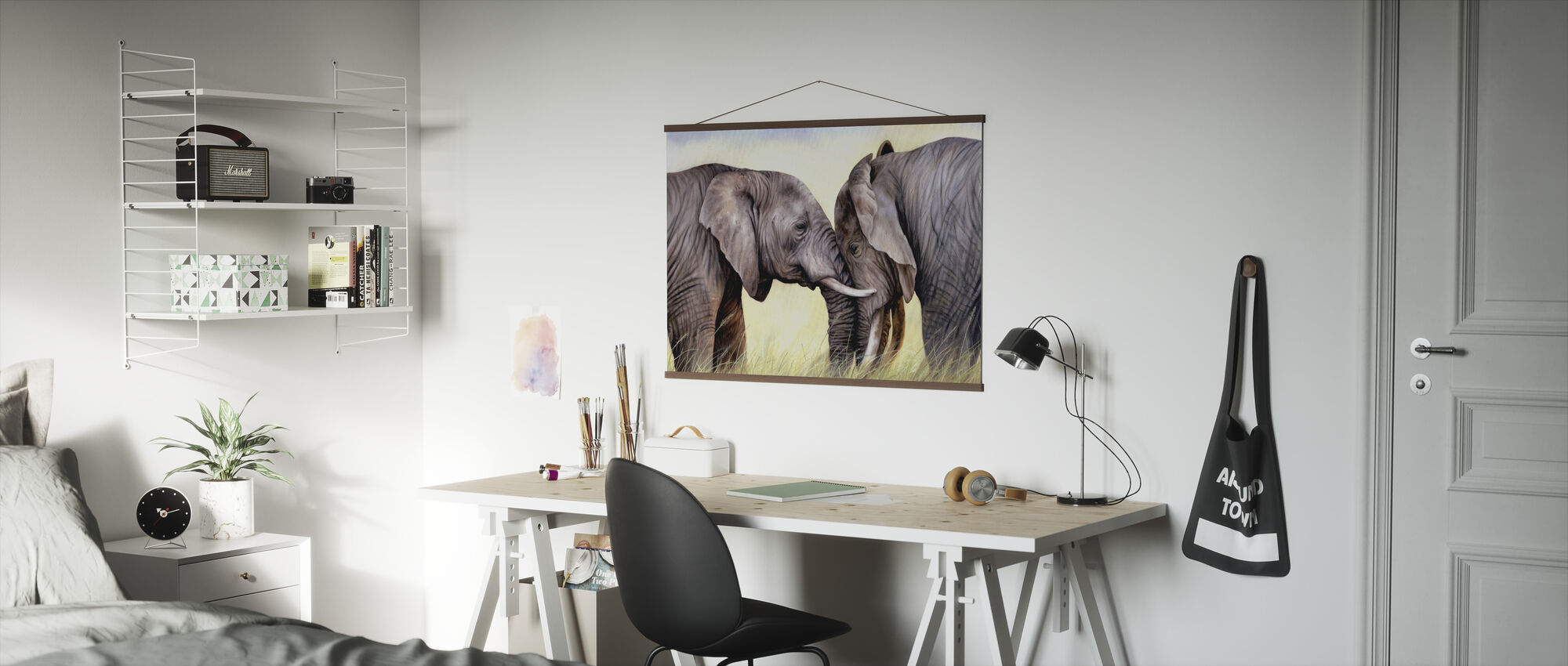 African Elephants Playing - Poster - Office