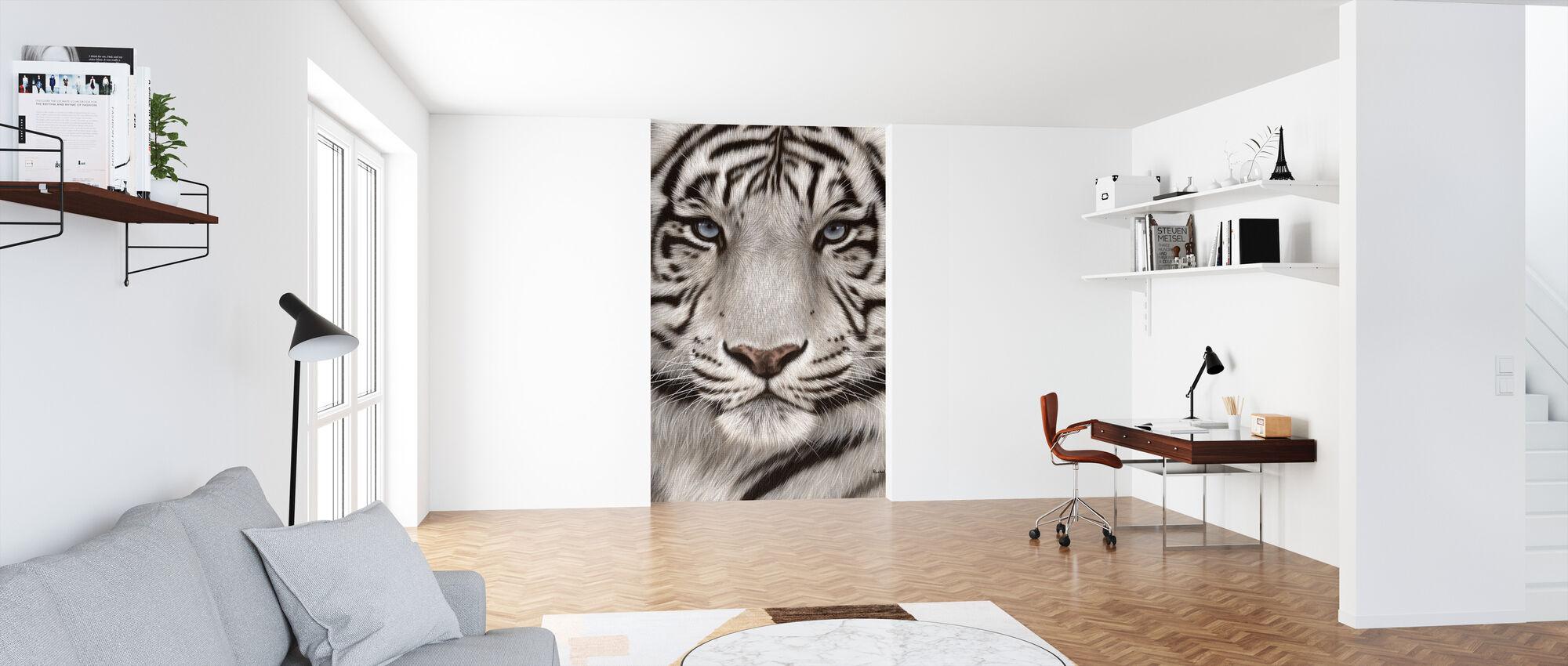 Witte Tijger Gezicht Portret - Behang - Kantoor