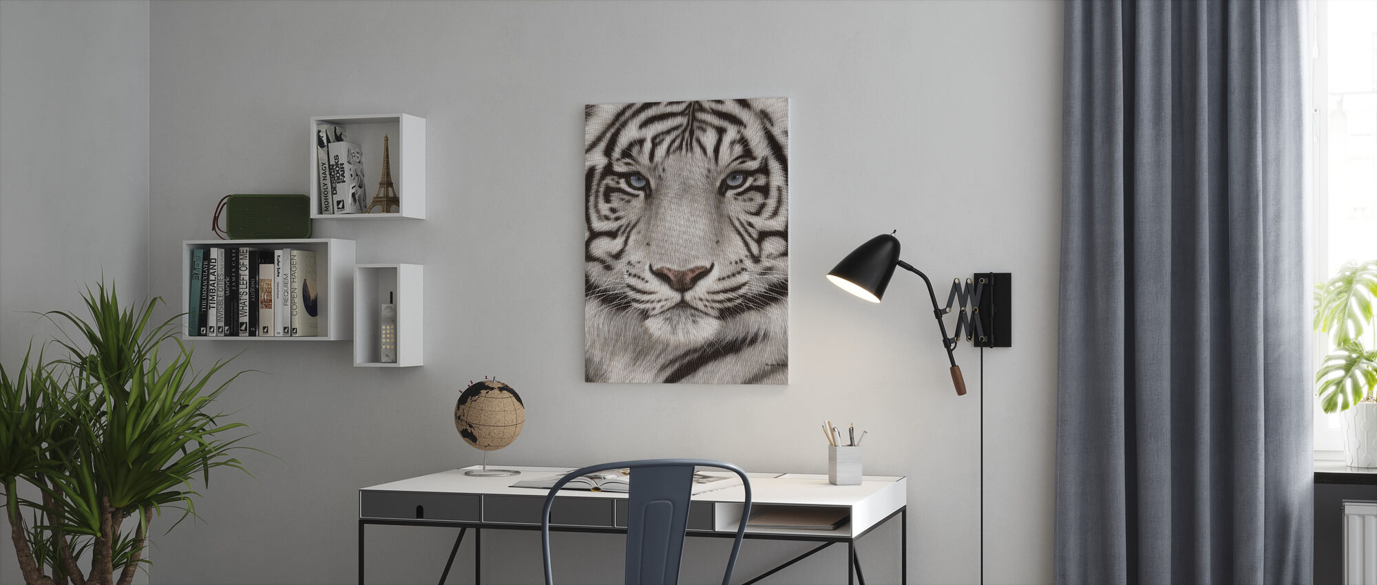 White Tiger Face Portrait - Canvas print - Office