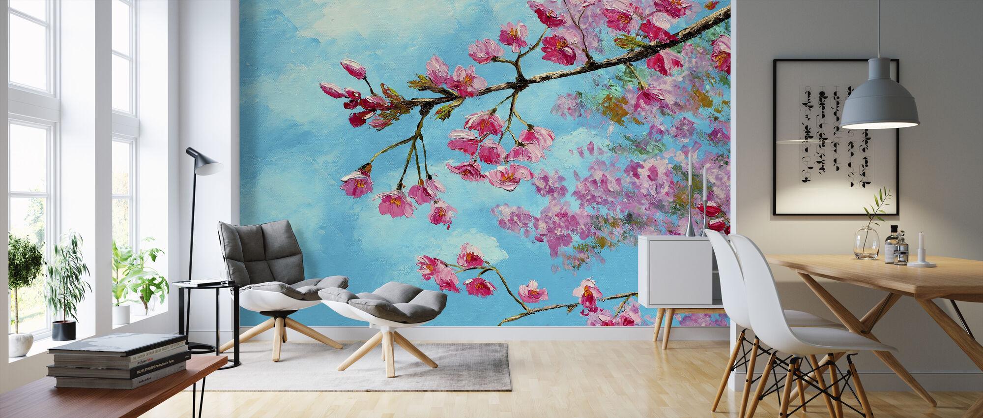 Cherry Blossom Blue - Wallpaper - Living Room