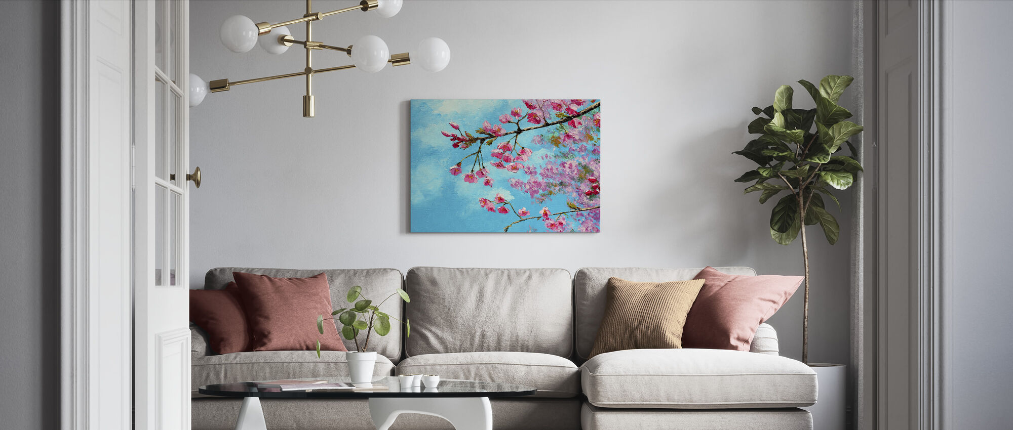 Cherry Blossom Blue - Canvas print - Living Room