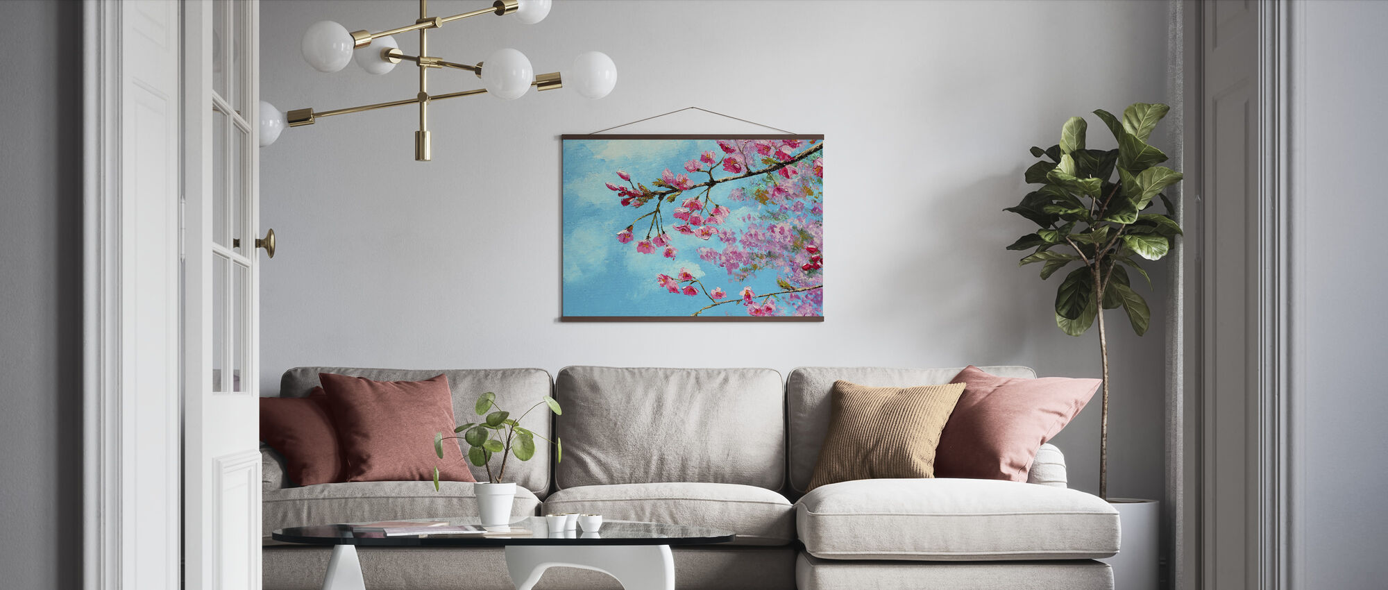 Cherry Blossom Blue - Poster - Living Room
