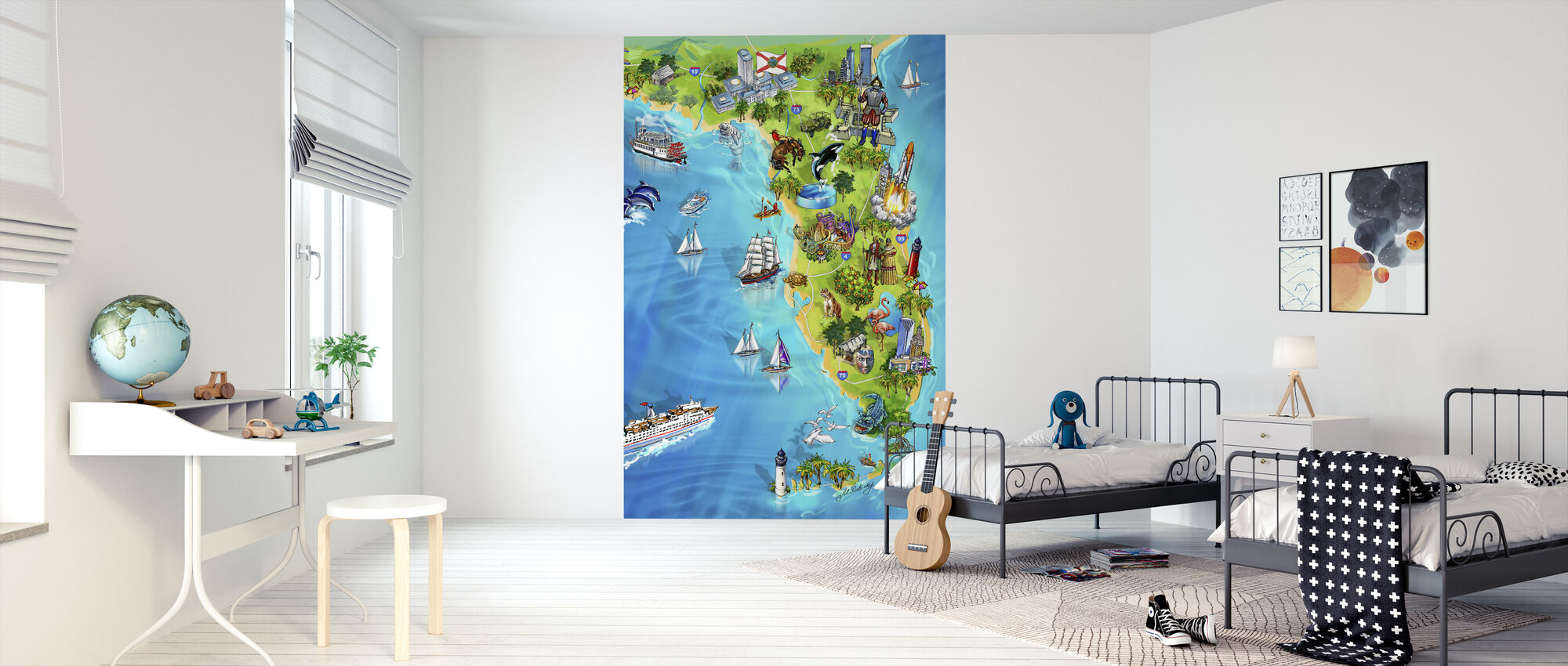 Florida Illustrated Map - Wallpaper - Kids Room