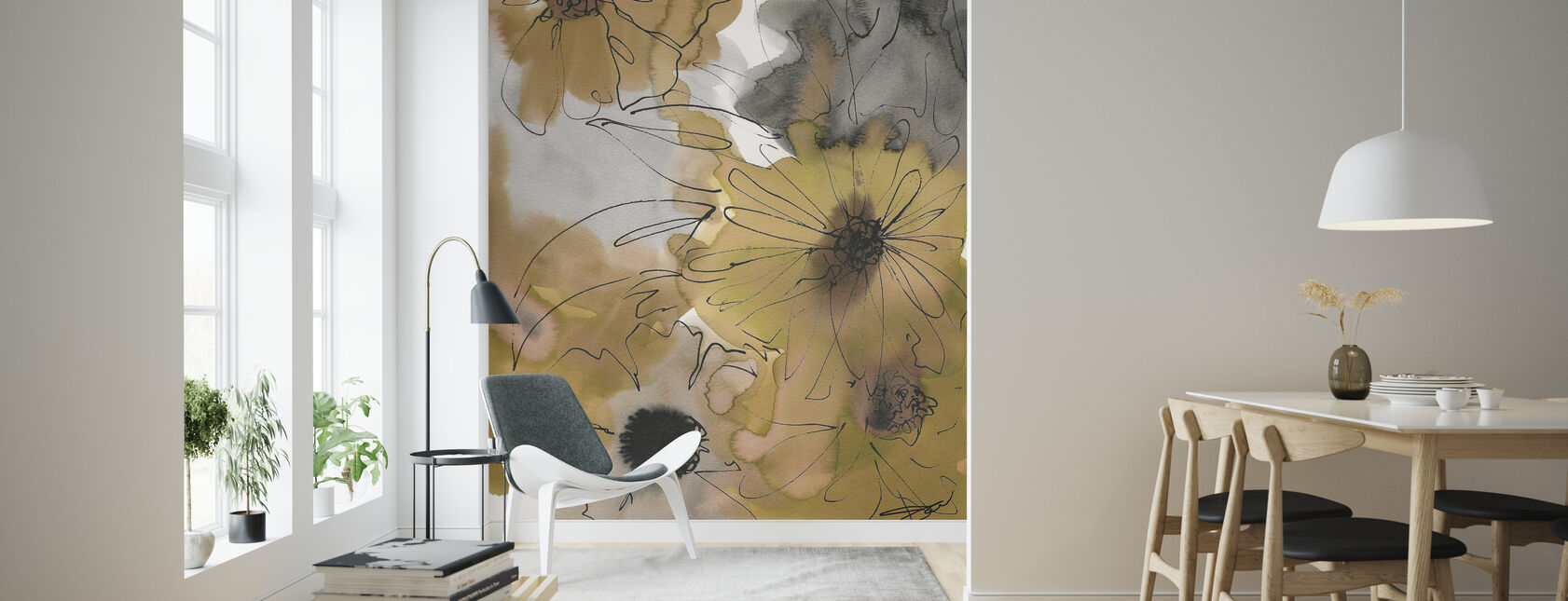 Tan Flowers - Wallpaper - Living Room
