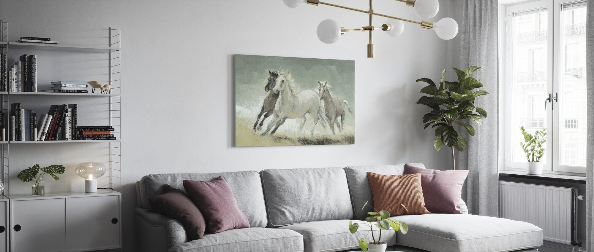 Hästar Galopperande - Canvastavla - Vardagsrum