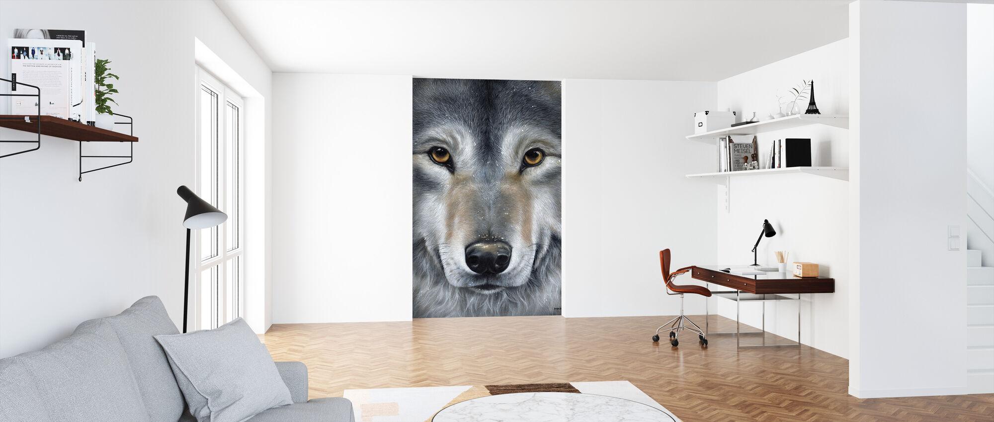Grå ulv ansikt - Tapet - Kontor