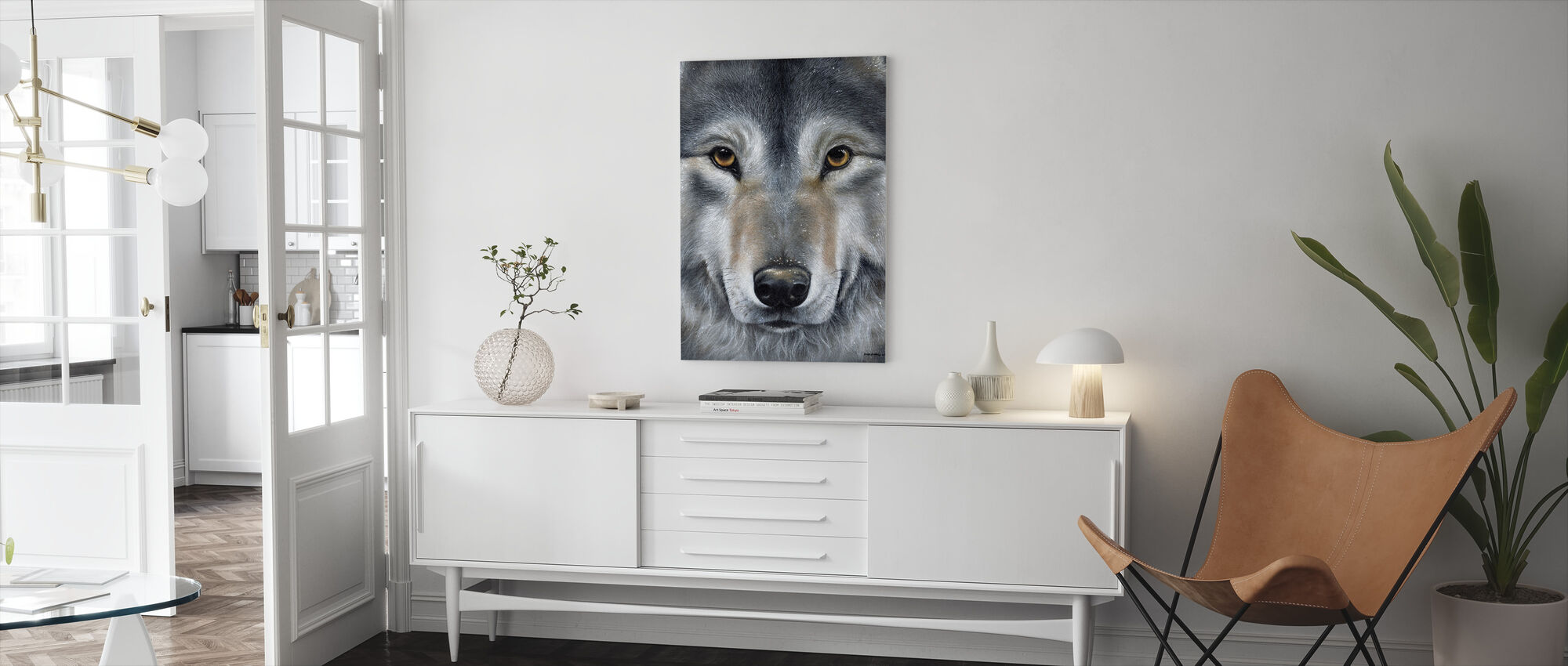 Grey Wolf Face - Canvas print - Living Room