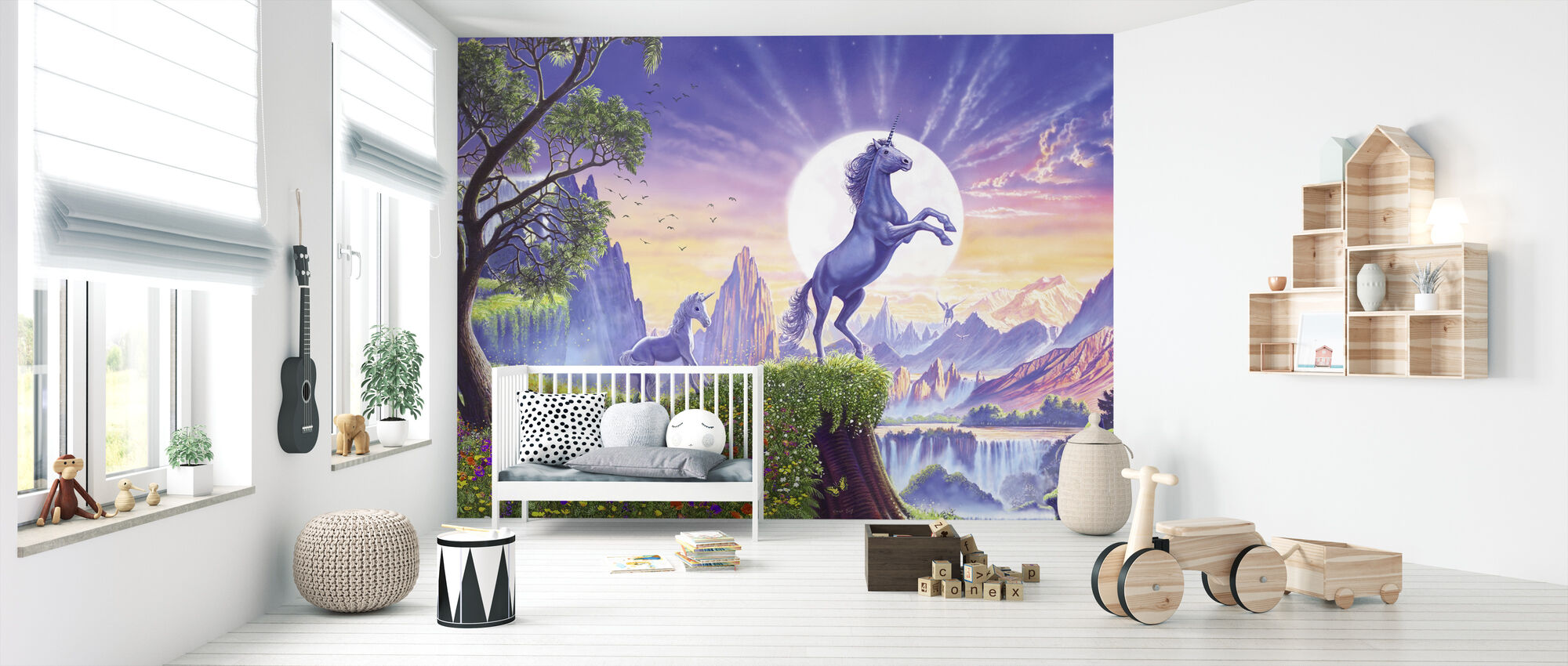 Unicorn Moon Ravens - Wallpaper - Nursery