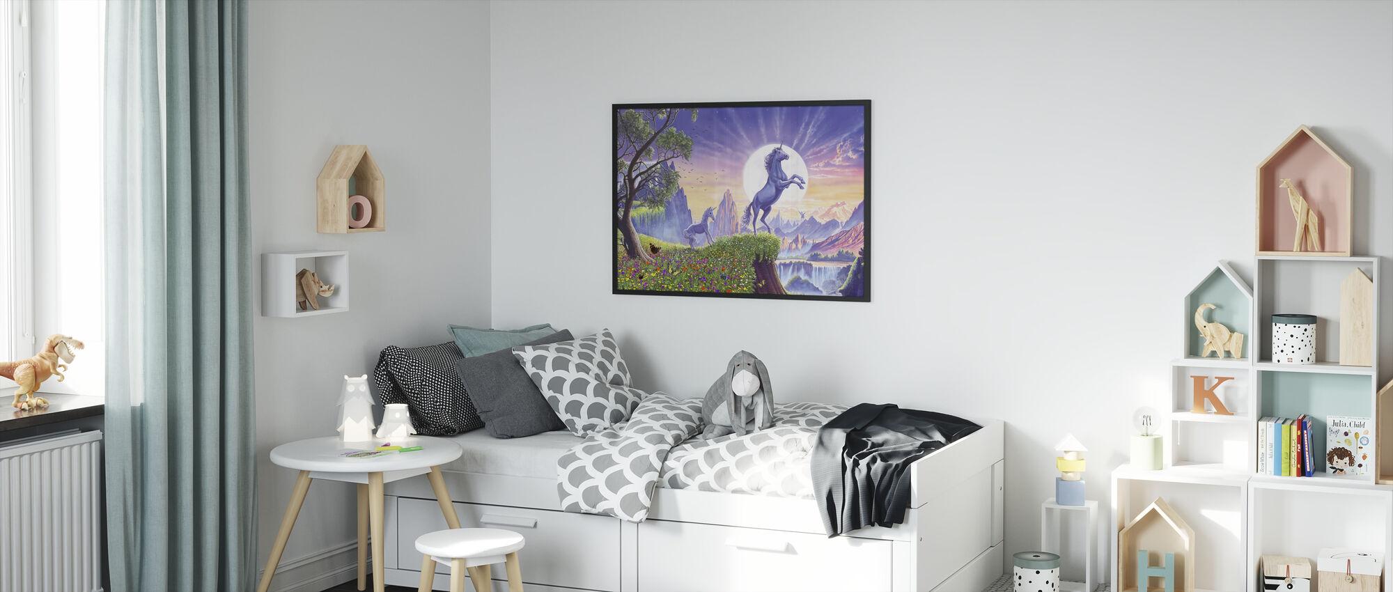 Unicorn Moon Ravens - Framed print - Kids Room