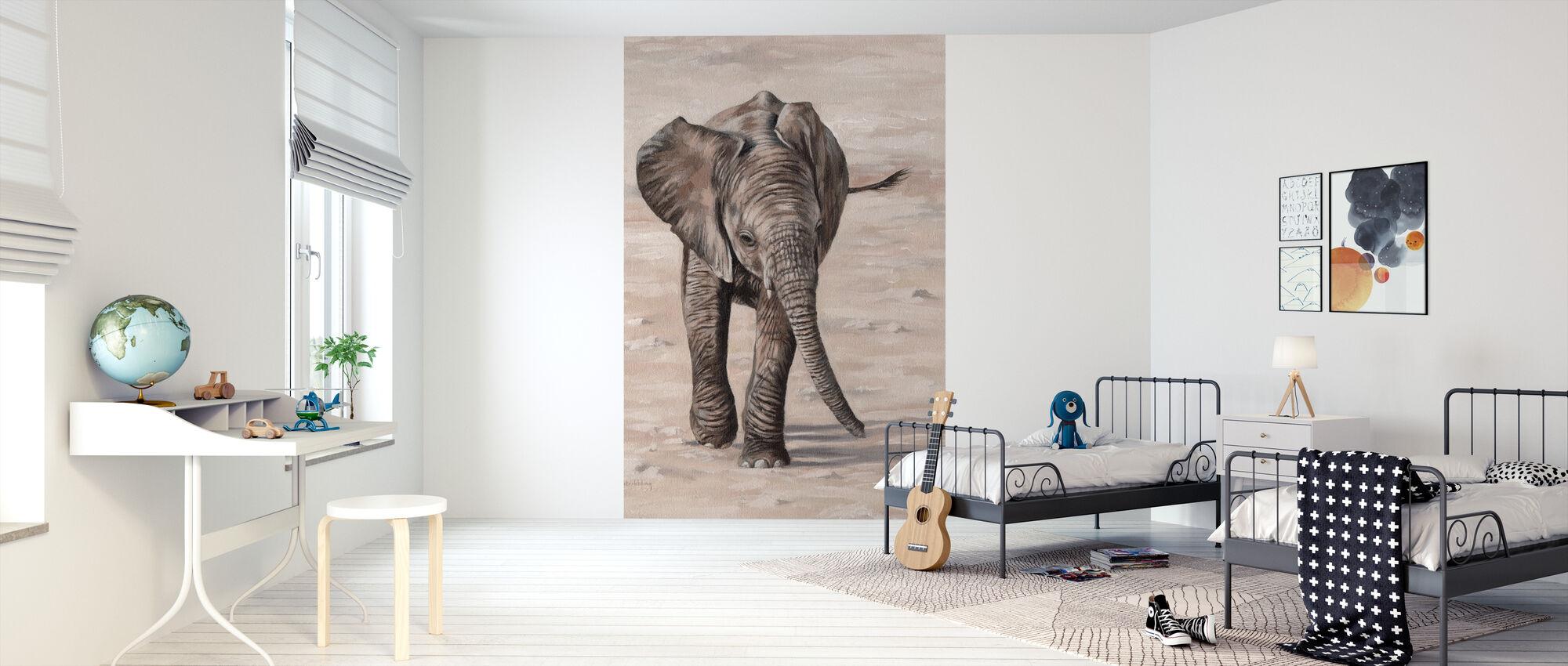African Elephant Calf - Wallpaper - Kids Room