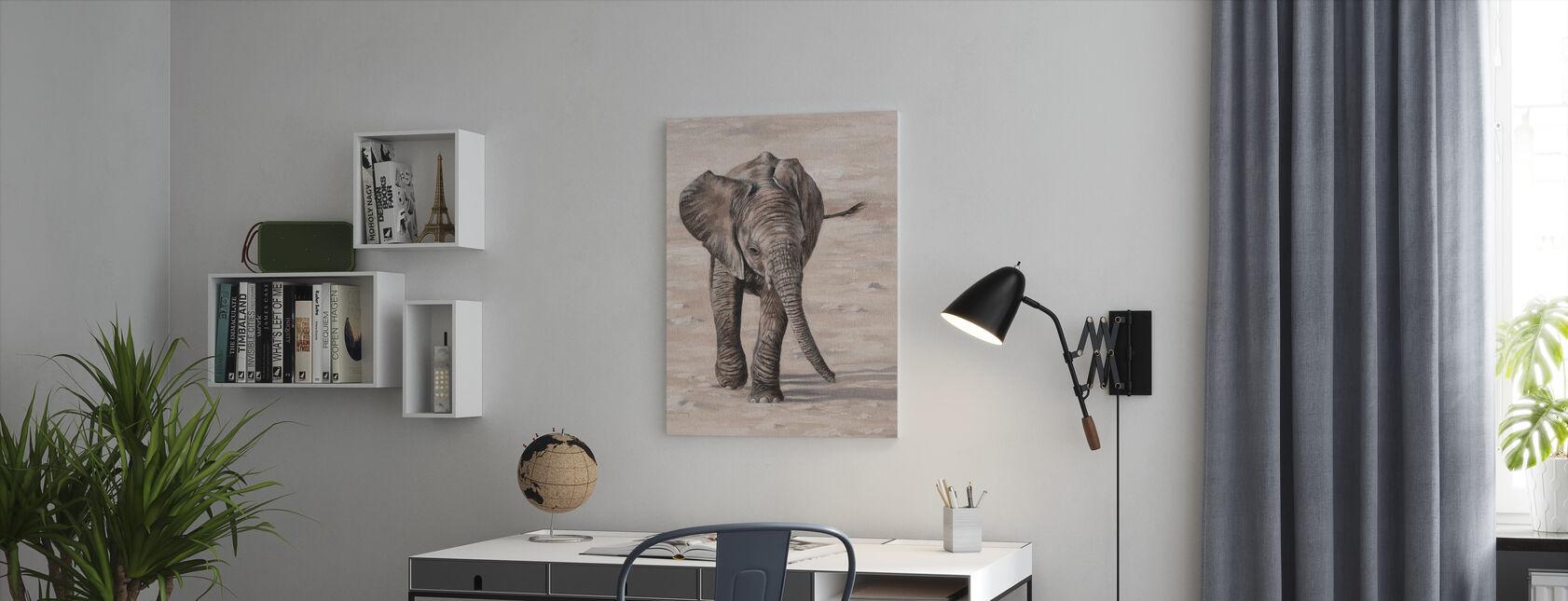 African Elephant Calf - Canvas print - Office