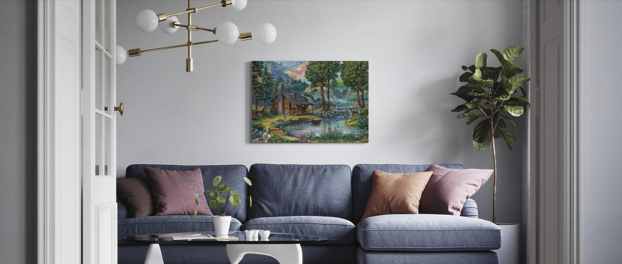 Landhus ved søen - Billede på lærred - Stue