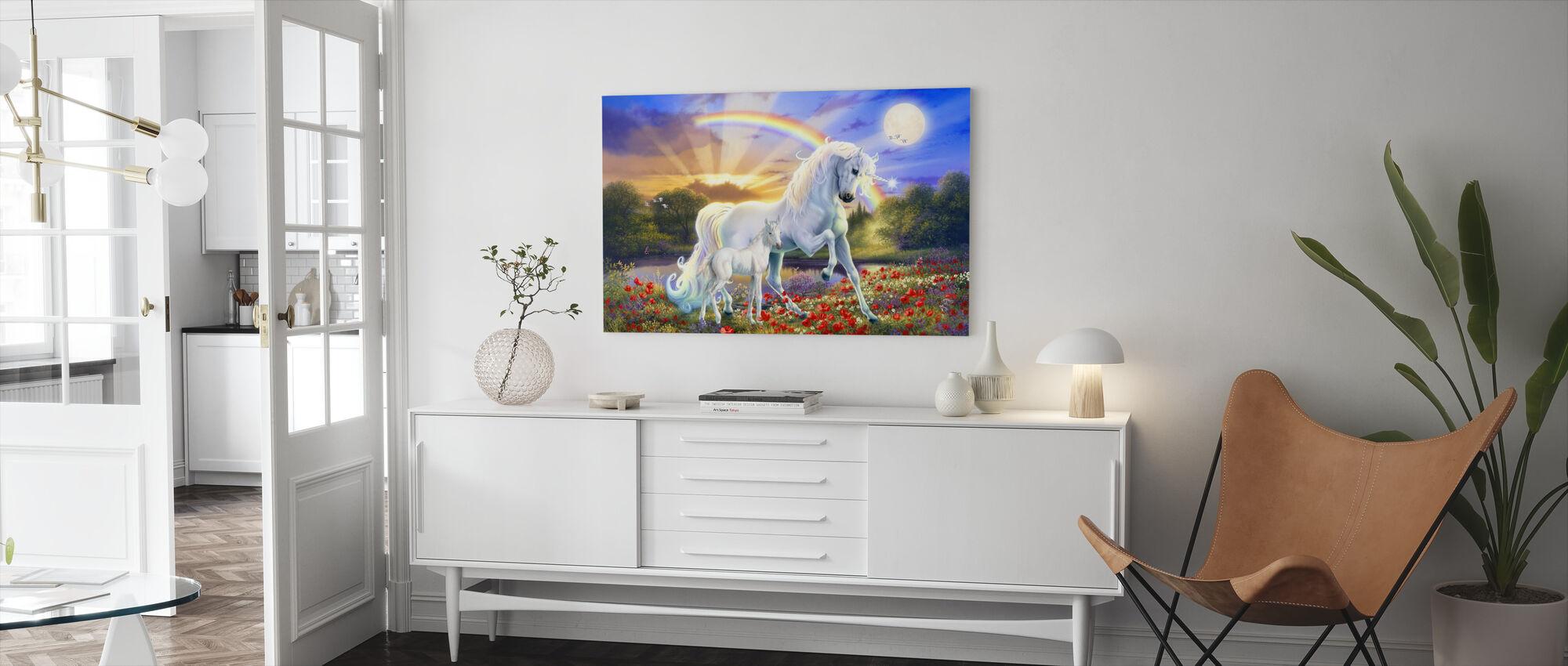 Rainbow Enhjørning - Lerretsbilde - Stue