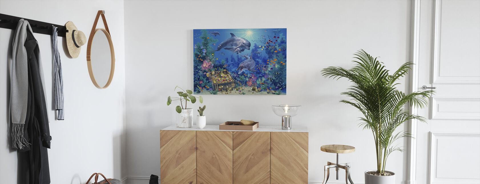 Delfin familj - Canvastavla - Hall