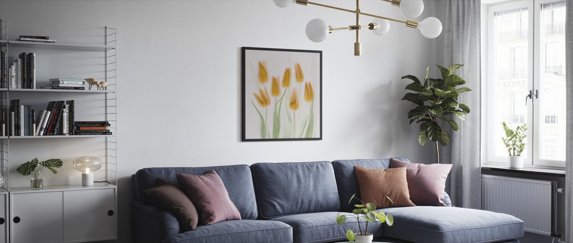 Golden Tulips - Framed print - Living Room