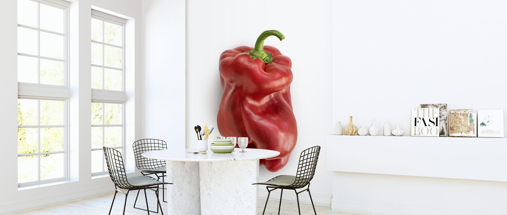 Rood op Wit - Behang - Keuken