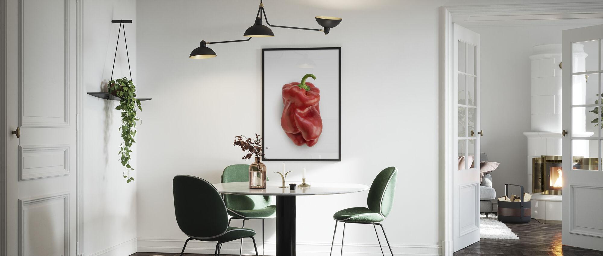 Punainen valkoisella - Kehystetty kuva - Keittiö