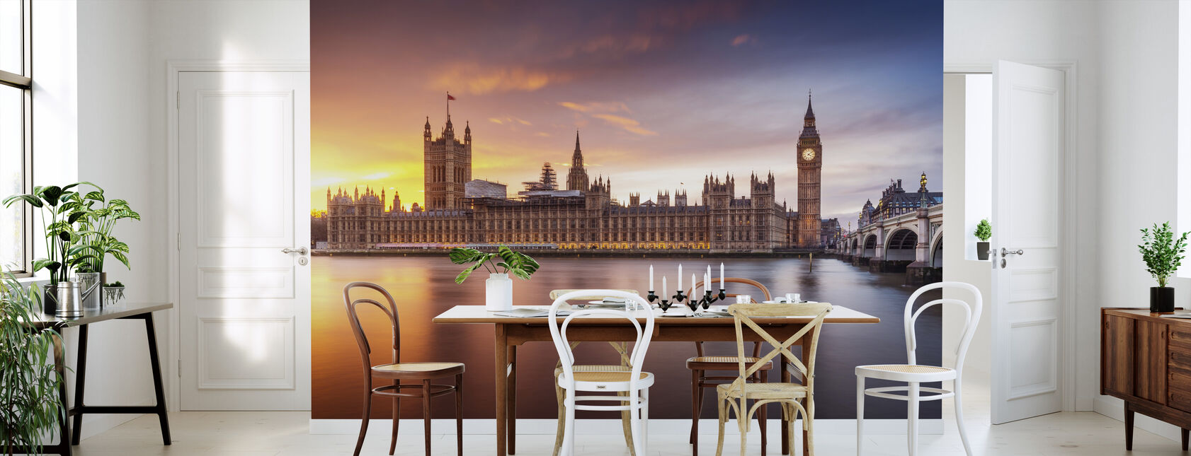 Palais de Londres de Westminster Coucher de soleil - Papier peint - Cuisine