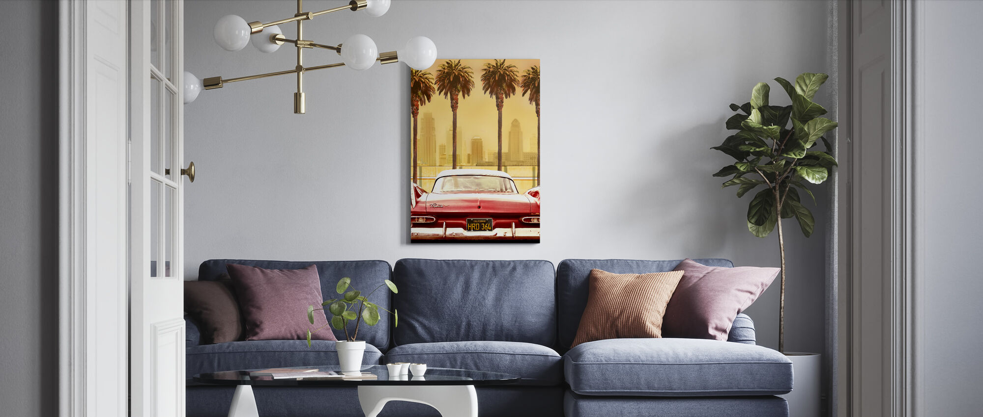 Plymouth Savoy with Palms - Canvas print - Living Room