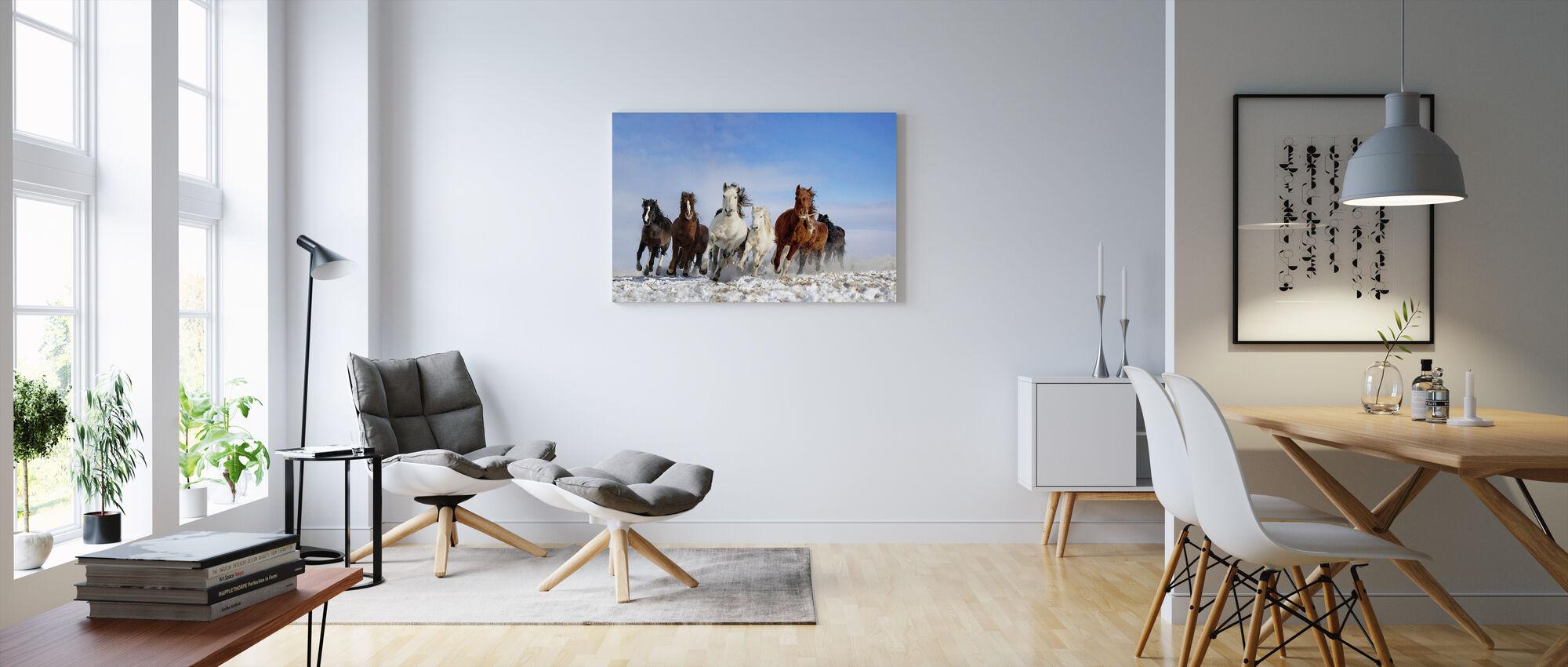 Mongoliet Hästar - Canvastavla - Vardagsrum