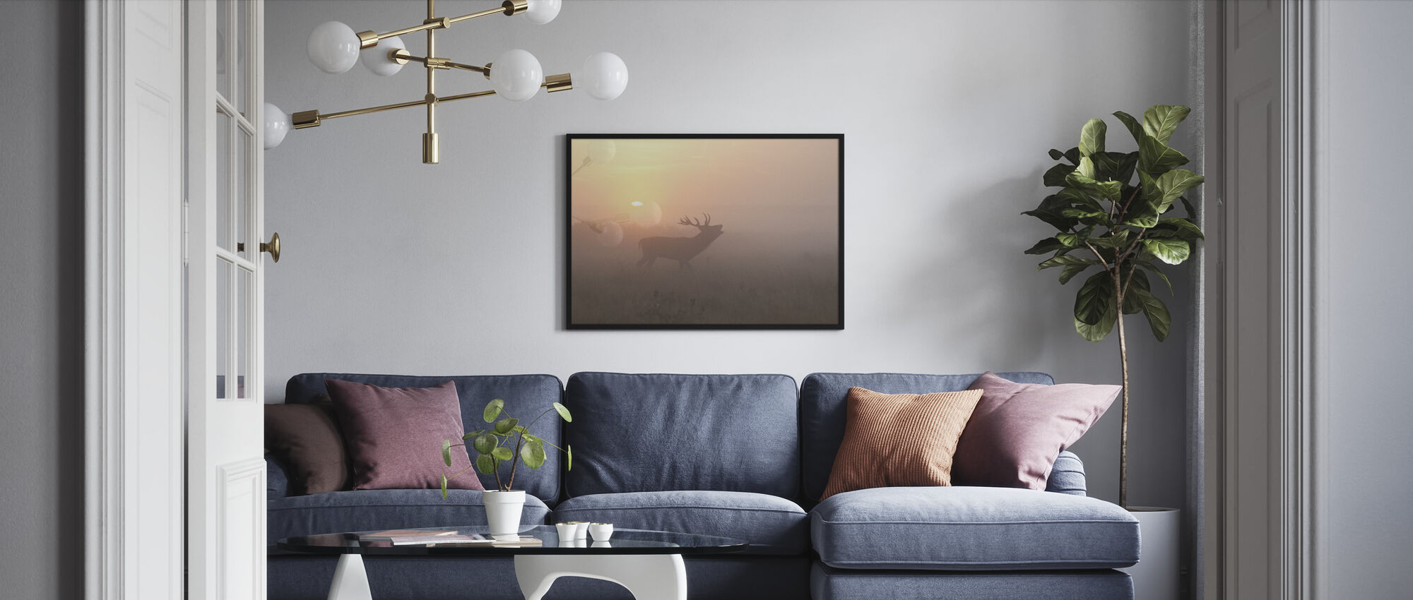 Misty Morning Stag - Framed print - Living Room