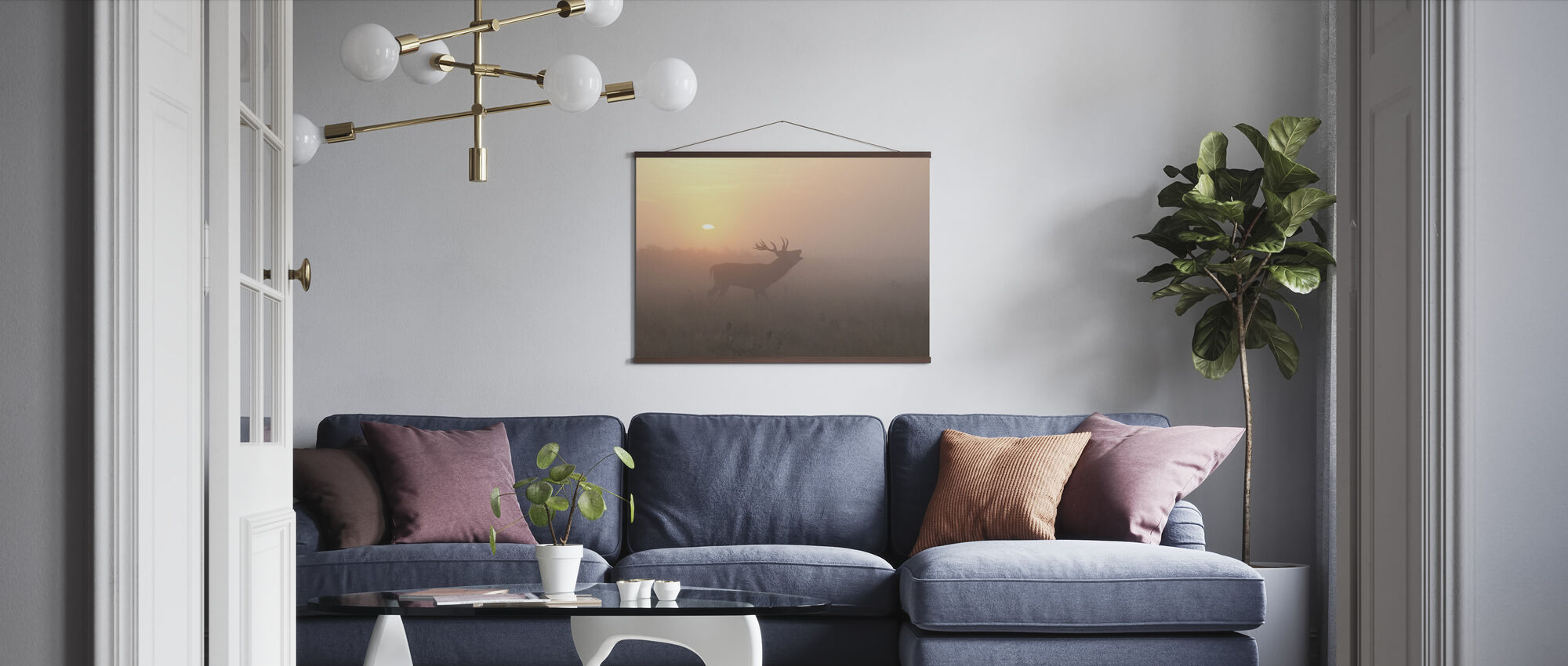 Misty Morning Stag - Poster - Living Room