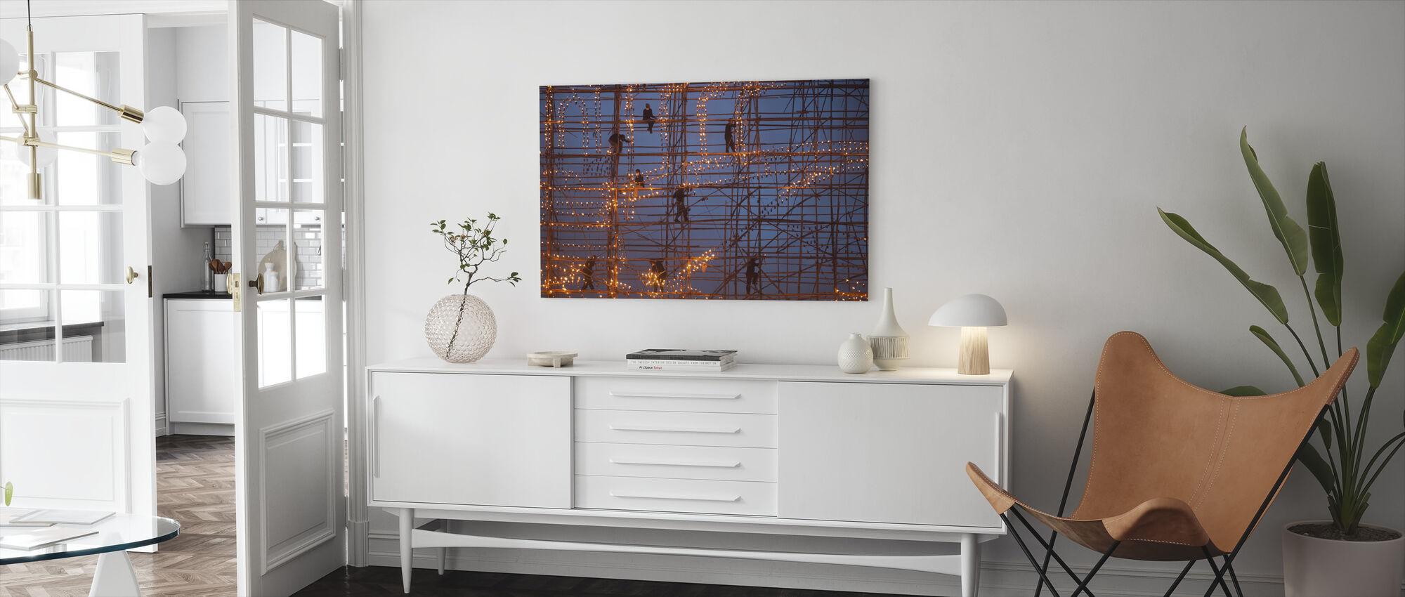 The Festival Runs Ship Fire - Canvas print - Living Room